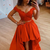 Red two pieces lace prom dress red lace formal dress
