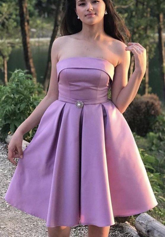 short mauve pink satin prom homecoming dresses strapless