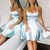 Princess Blue Simple Short Homecoming Dress