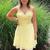 Cute V Neck Short Yellow Homecoming Dress