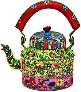 Handpainted Floral Indian Tea Kettle