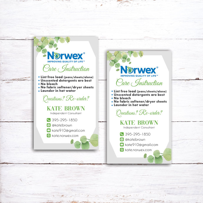 Norwex Care Instruction Card, Personalized Norwex Green Cleaning, How To Care