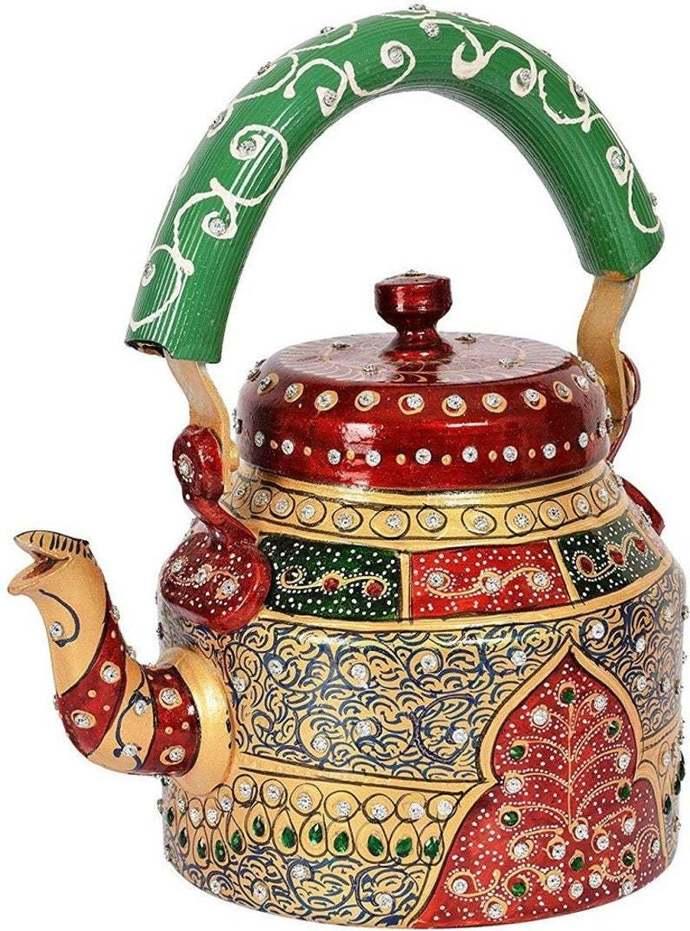 Handpainted Meenakari Indian Tea Kettle