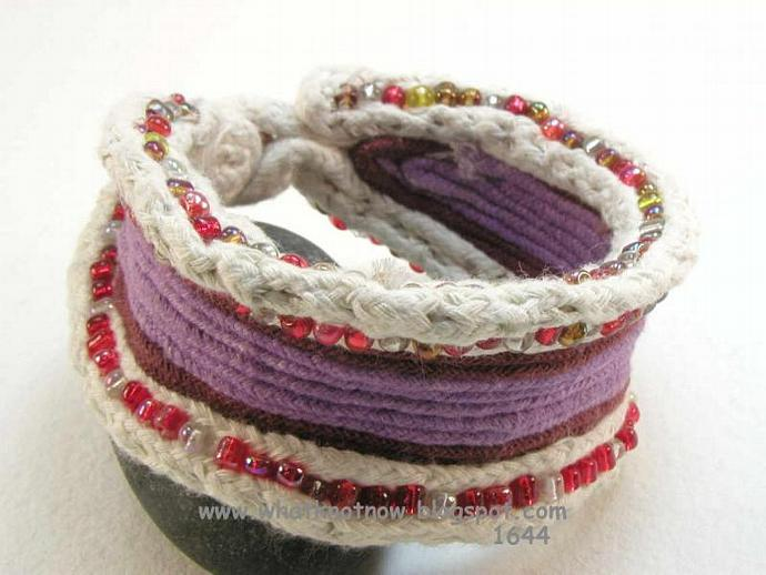 red and purple beaded cuff bracelet with one button toggle 1644