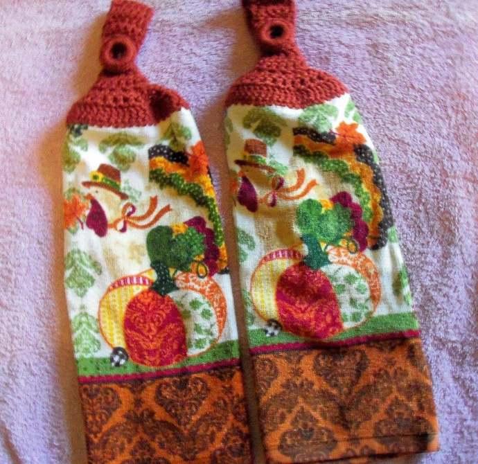 Thanksgiving Turkey Design Kitchen Hanging Towels Thicker Quality (2)