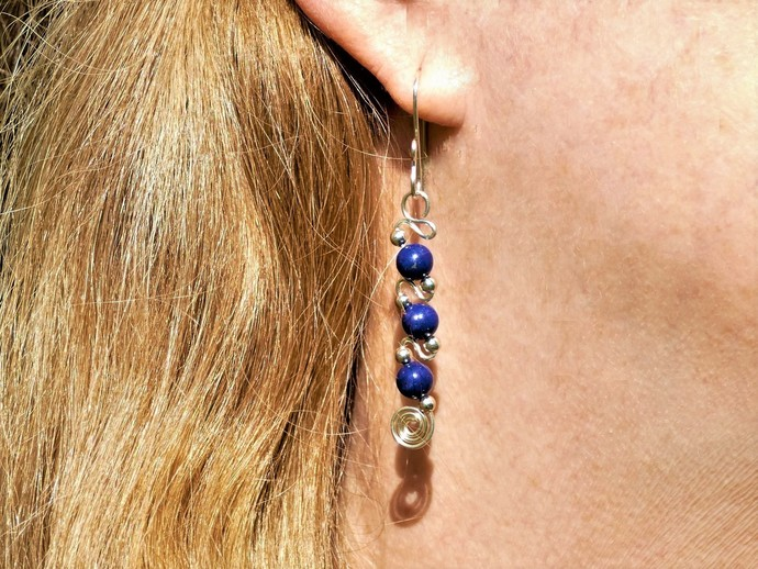 Lapis Lazuli Sterling Silver Dangle Earrings - Argentium High Quality Wire