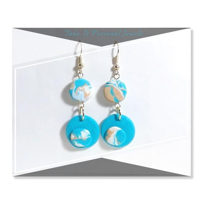 Geometric Shape Beach style Earrings Polymer Clay Jewelry Handmade