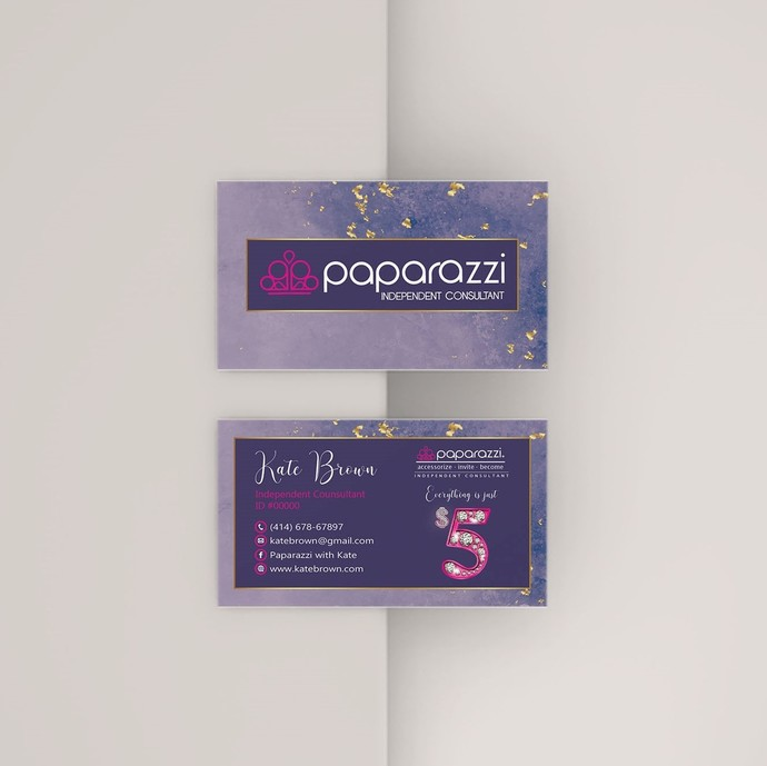 Purple Glitter Paparazzi Business Cards, Paparazzi Accessories, Gold Paparazzi