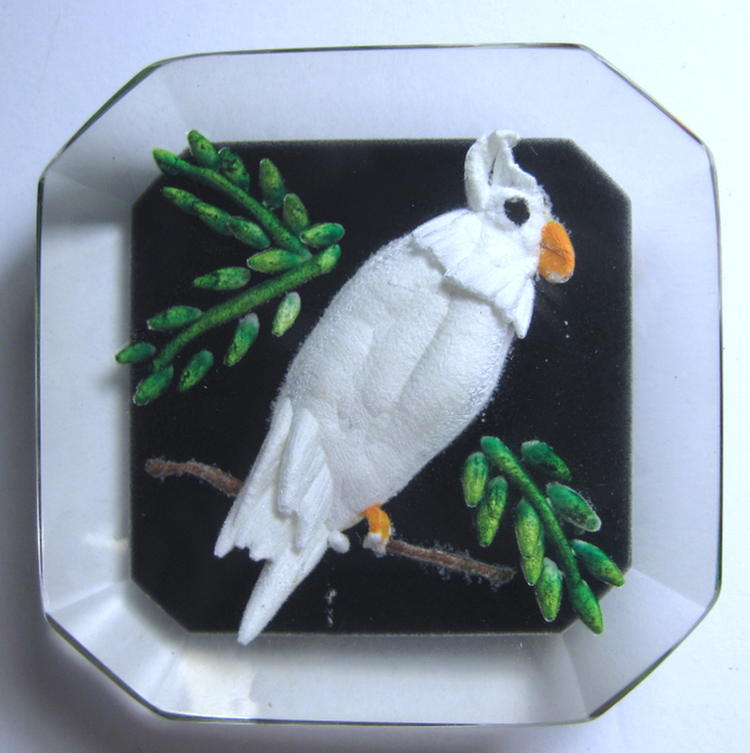 Great Carved Lucite Parakeet Button by Cheryl Wood Empson
