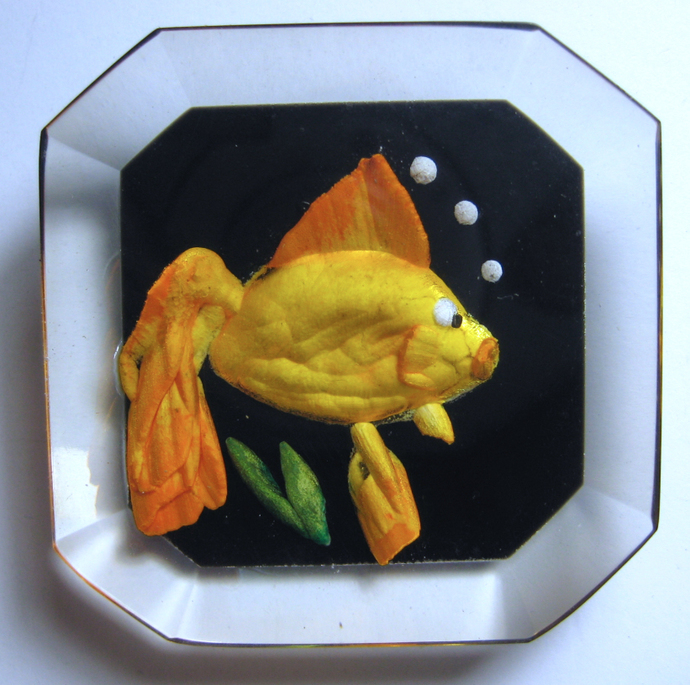 Carved Lucite Fish Button by Cheryl Wood Empson