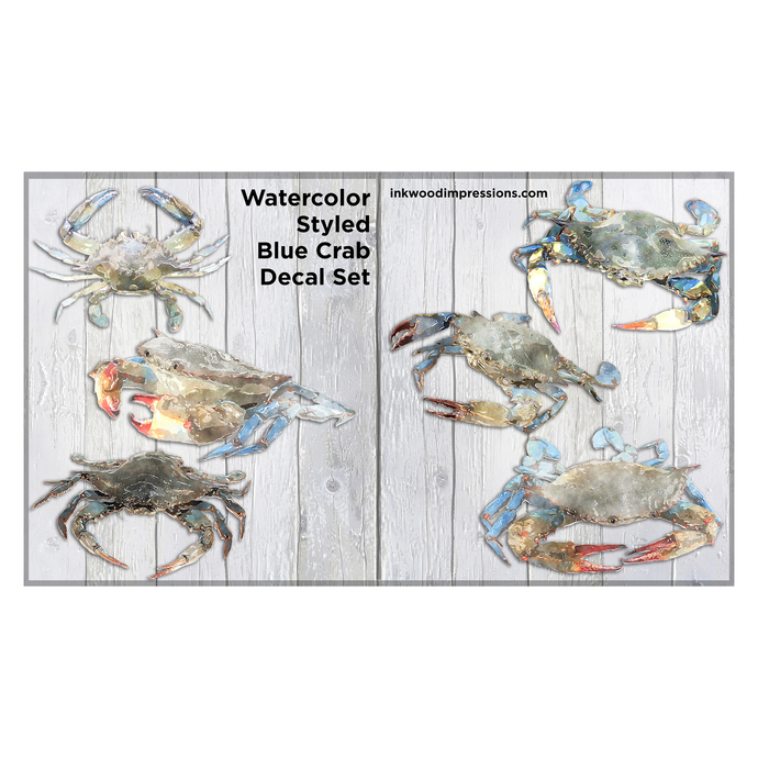 Watercolor Styled Blue Crab Decal Set