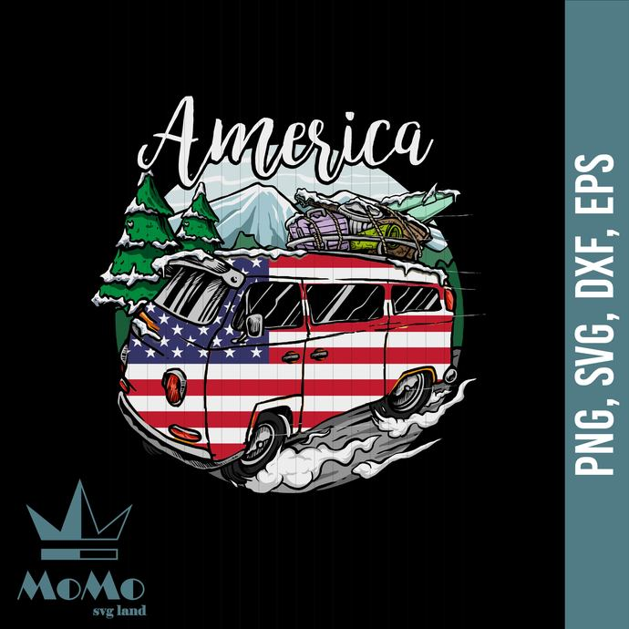 America Camping Svg, Camper Svg, Camping Svg, American Flag, 4th Of July,