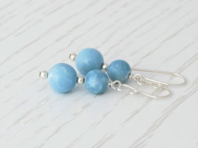 Larimar Dangle Argentium Sterling Silver Earrings - Sky Blue Wire Wrapped Fine