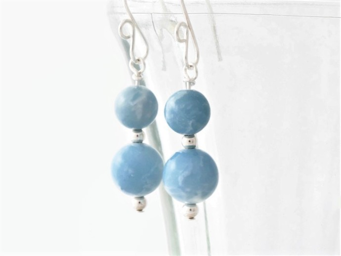 Larimar Dangle Argentium Sterling Silver Earrings - Sky Blue Wire Wrapped Fine
