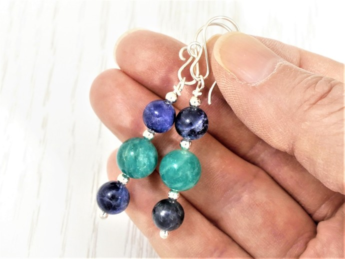 Sterling Silver Sodalite & Amazonite Earrings - High Quality Wire Wrapped Blue