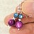 Sterling Silver Dangle River Shell Earrings - High Quality Wire Wrapped Colorful