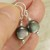 Sterling Silver Dangle Black Natural Shell Earrings - High Quality Wire Wrapped
