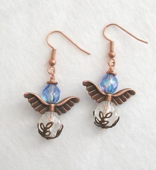 Handmade Copper and Czech Firepolish Guardian Angel Earrings in Blue
