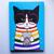 Rainbow Coffee Cat Original Nerd Cat Folk Art Painting