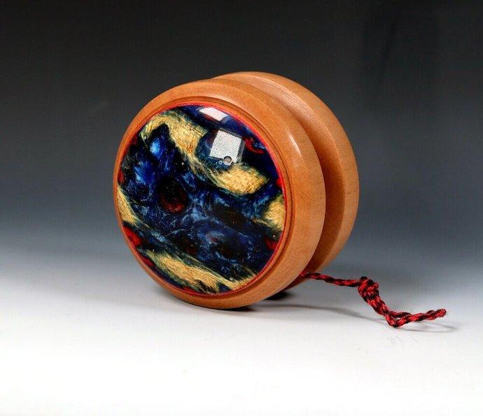 Handmade Yo-Yo, Swiss Pear with Resin/Cactus Sidecaps