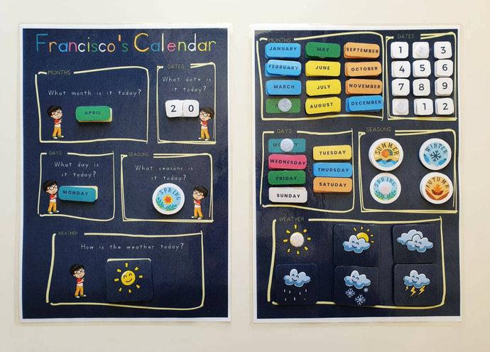 Kids calendar * Kids personalised calendar * First calendar * Daily kids