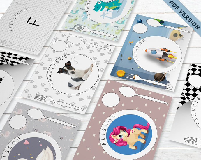 Personalised Montessori placemat * Printable Montessori placemat * Toddler