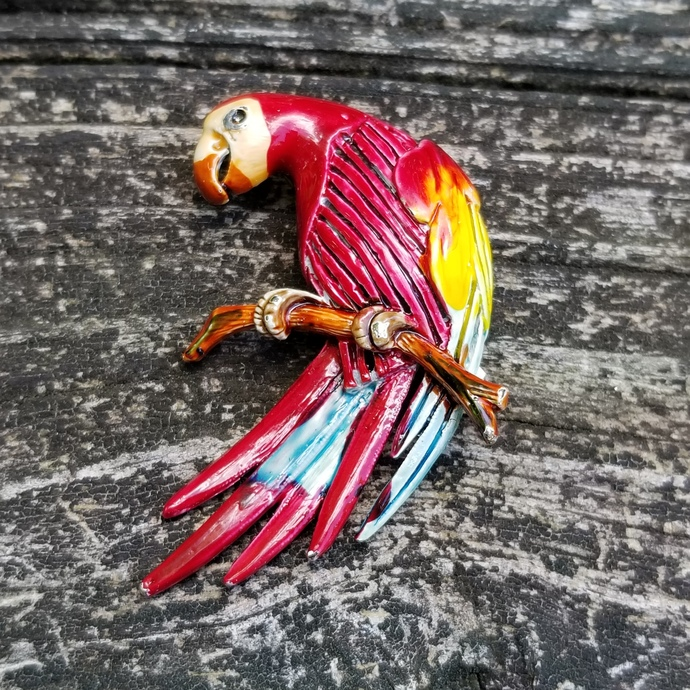 Vintage Red Macaw Parrot Brooch
