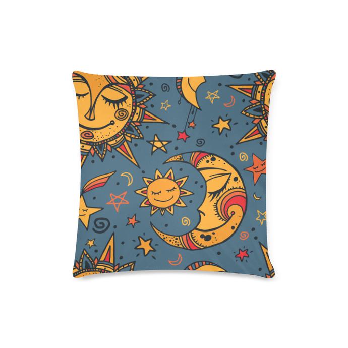 Cute Moons & Stars Custom Zippered Pillow Case 16″ x 16″ (Twin Sides)