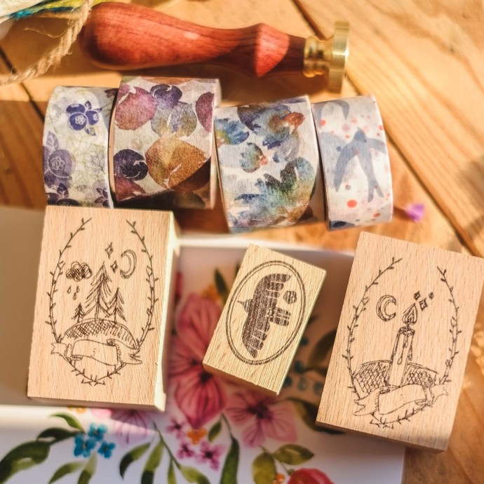 mne x London Gifties bundle box - washi tapes, stamps, a wax seal and postcards