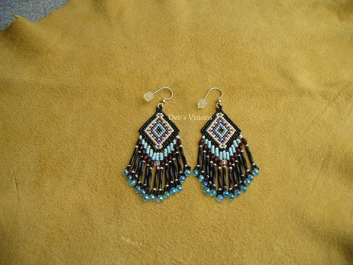 Native American Style Brick Stitched Geometric Design Earrings in
