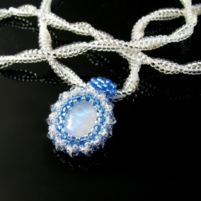 Bead embroidered moonstone pendant with Herringbone rope
