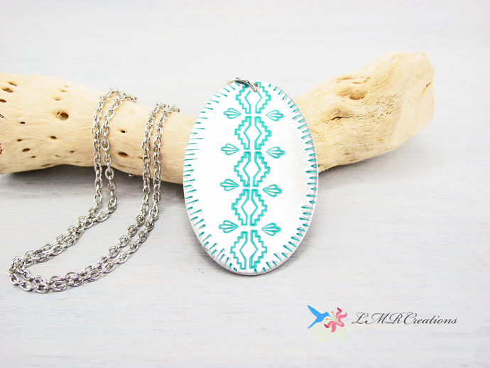 Teal Southwestern Stamped Metal Pendant, Hand Stamped Western Necklace, Silver