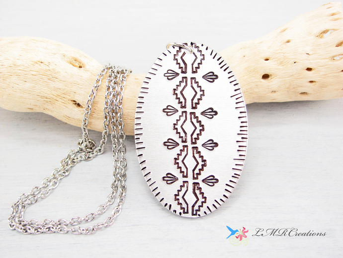 Southwestern Hand Stamped Necklace, Metal Western Pendant, Silver Aluminum