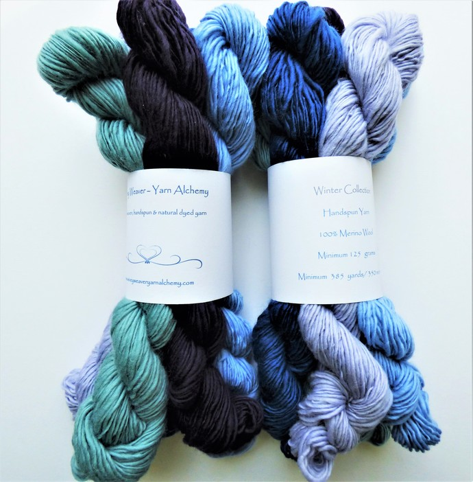 Handspun Yarn – 100% Merino Wool – 125 grams – Sport Weight – Winter Collection