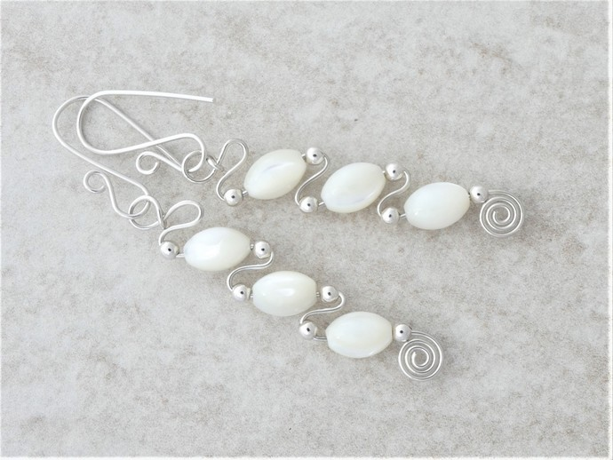 Mother of Pearl Sterling Silver Dangle Earrings - Argentium High Quality Fine
