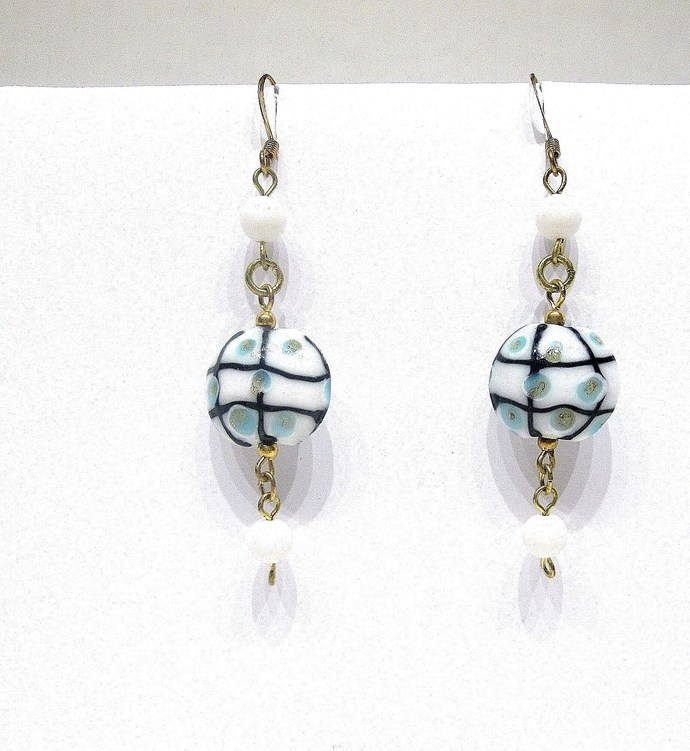Blue and white dangle earrings, textured lampwork beads, long earrings, lamp