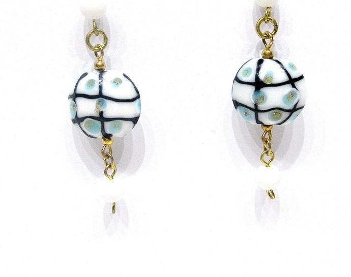 Blue and white dangle earrings, textured lampwork beads, long earrings, lamp