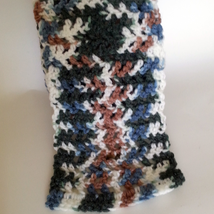 Long Unisex Scarf Crocheted in Variegated Blue Green Brown