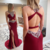 Red Prom Dress,Mermaid Prom Gown,Beading Evening Dress,Satin Prom Gown 0218