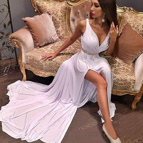 V Neck Party Dress,Beaded Prom Dress,Split Prom Dress,Fashion Prom Dress,Sexy