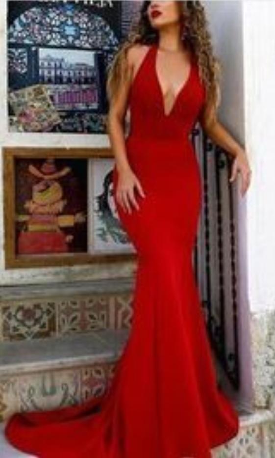 Red Sexy Prom Dress, Deep V-neck Prom Dress, Backless Long Prom Dress