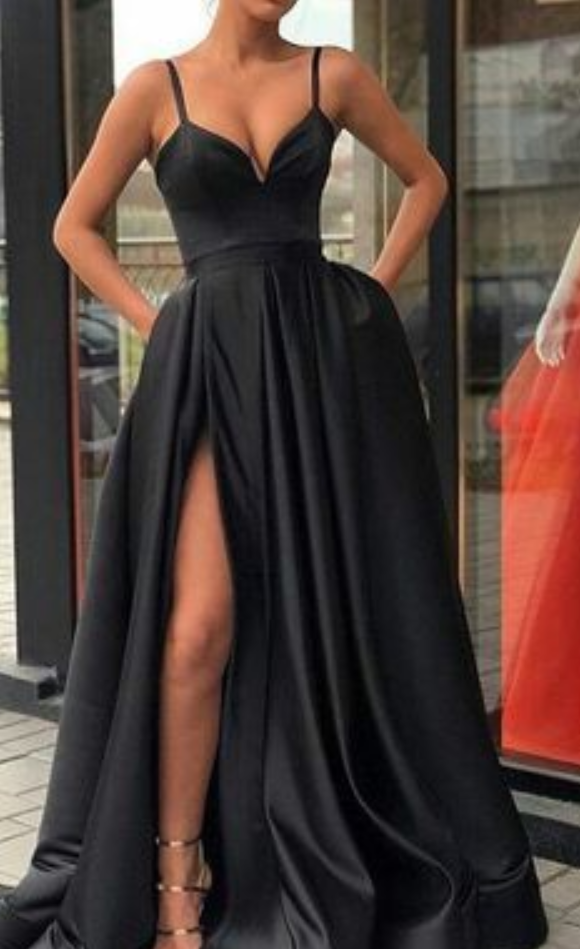 A Line Black Prom Dress,Party Dress,Sexy Evening Dress With Split,Strap Prom