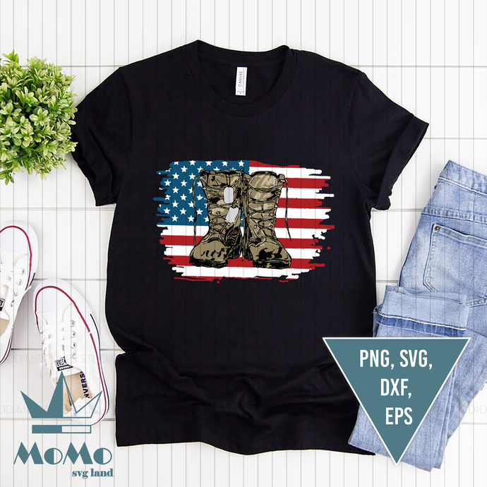 Army Boots With Dog Tags And American Flag, Combat Soldier, Watercolor, Combat