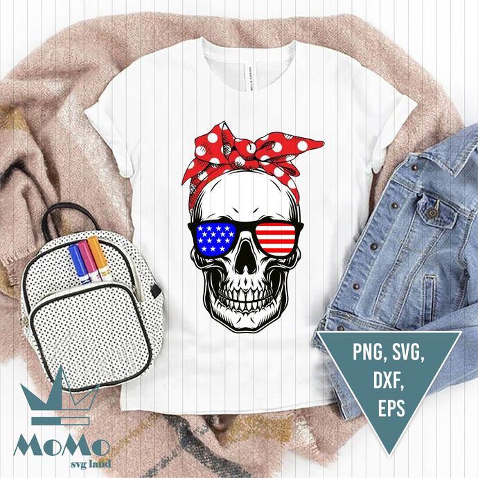 Skull Svg, Hippie Svg, Patriotic Svg, American Flag, 4th Of July, Independence
