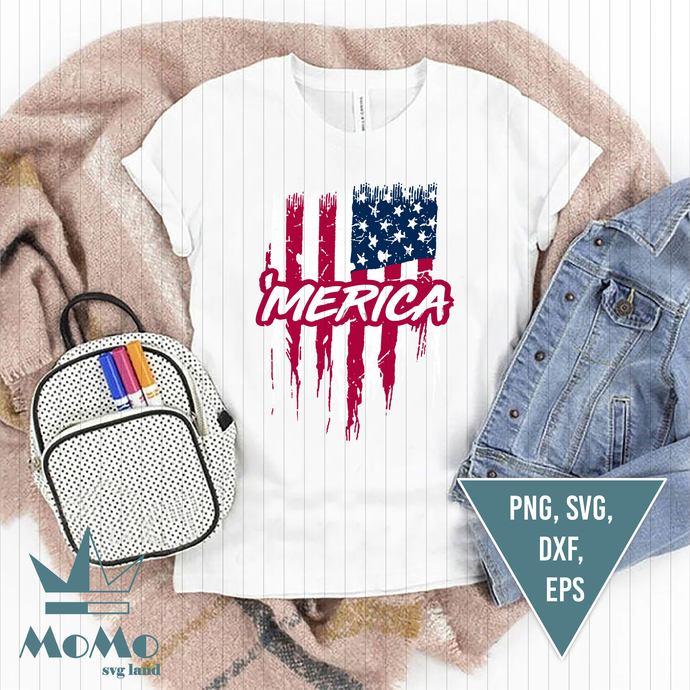 Merica Svg, Merica, Distressed American Flag Svg, Patriotic svg, USA Svg, Fourth