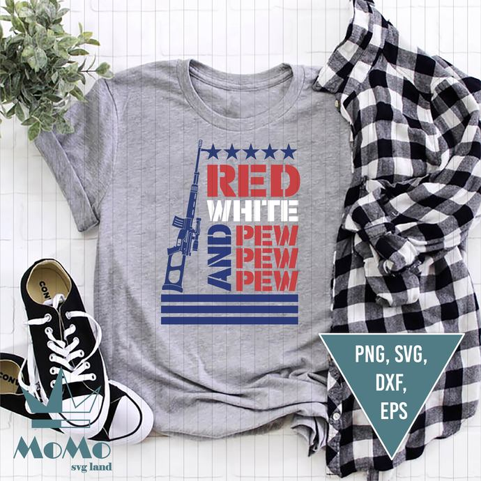 Red, White and Pew Pew Pew Svg, Bullet Flag, Patriotic Svg, USA Svg, Fourth of