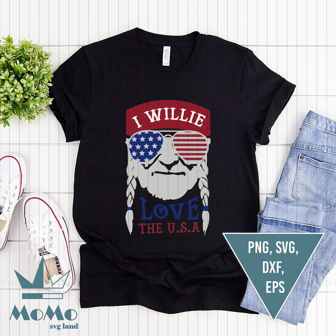 I Willie Love The USA Flag Svg, Willie Nelson, Independence Svg, American Flag,