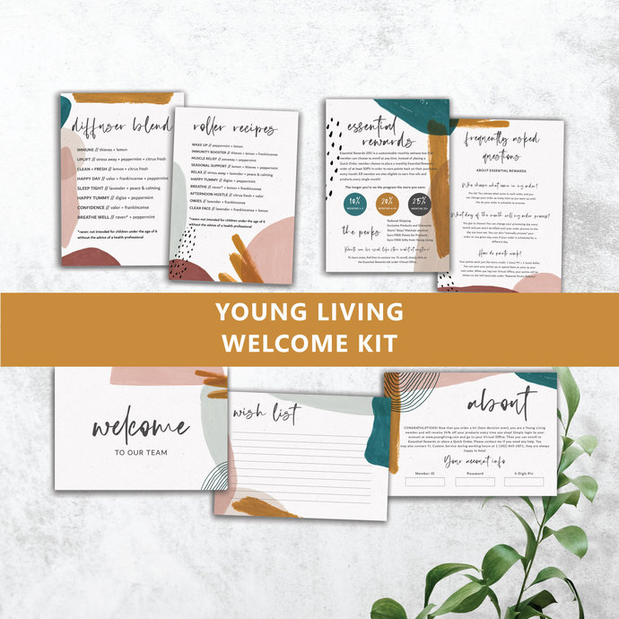 Abstract Watercolor Young Living Member Welcome Kit, Essential Oils Starter Kit