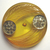 Bakelite Large Applejuice Colored Button with Leaf Design and Sequins?