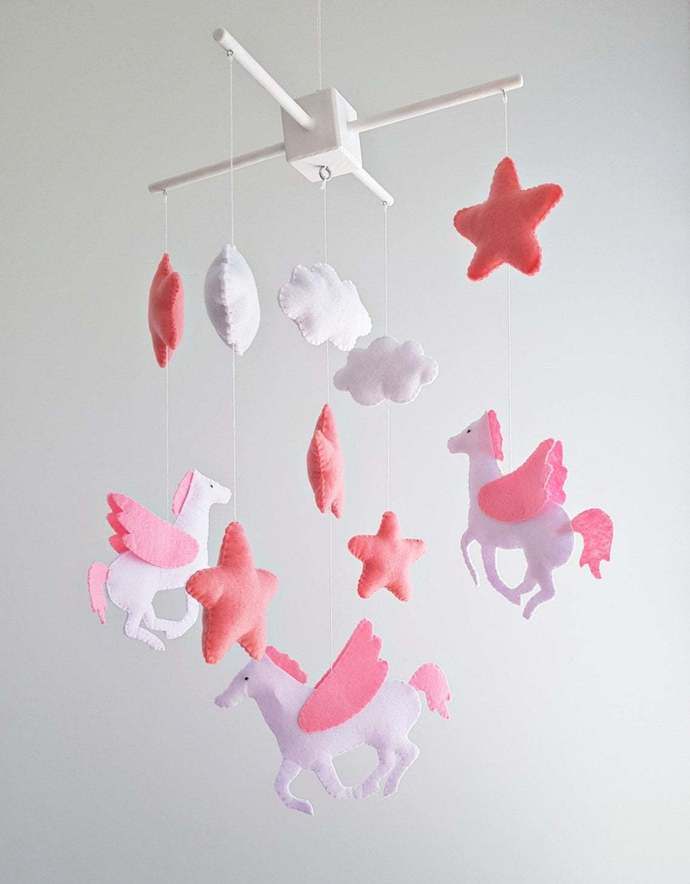Unicorn Baby Mobile crib nursery Decor Pegasus Animals
